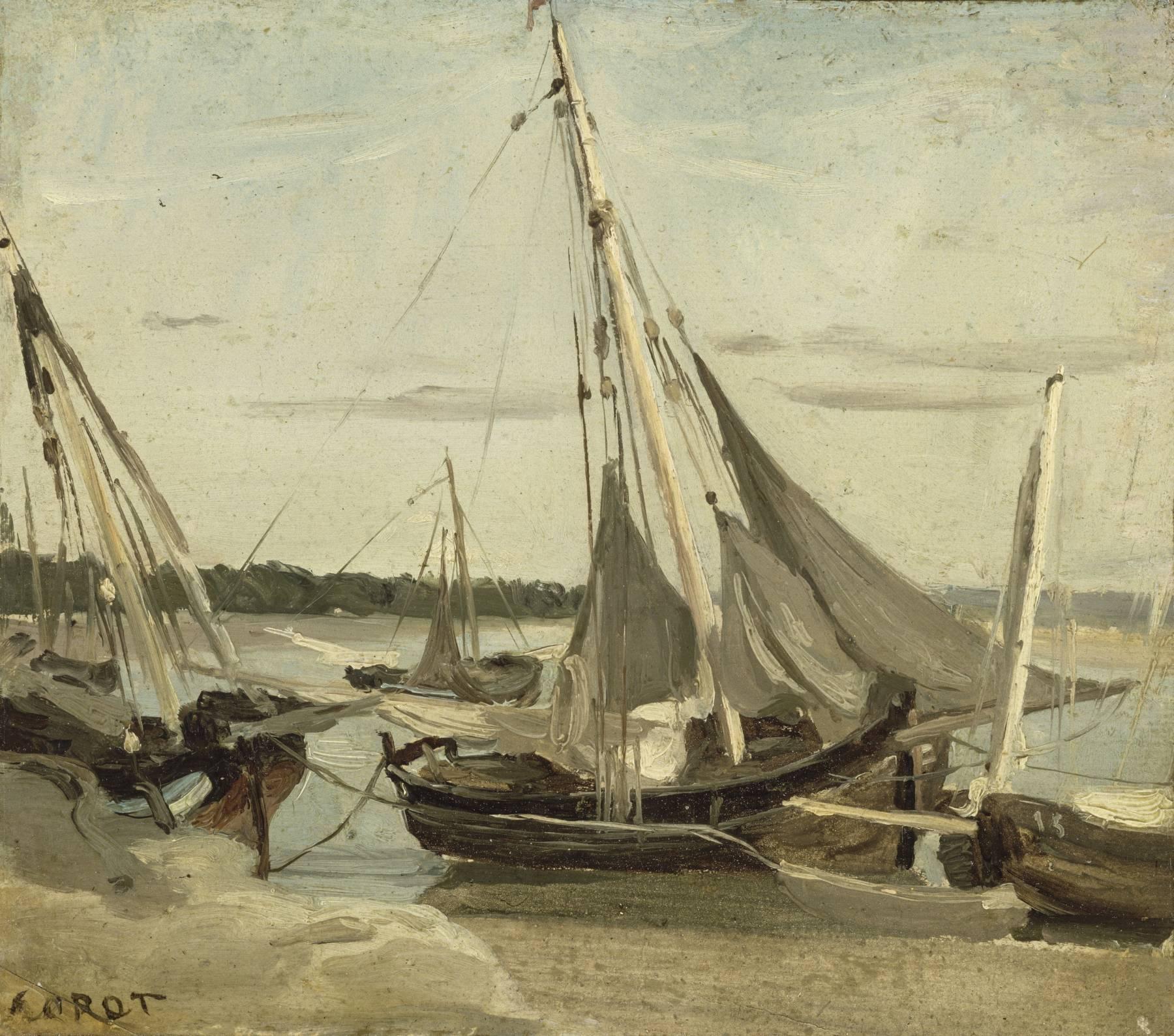 Camille Corot, Trouville, bateaux de pêche échoués dans le canal
