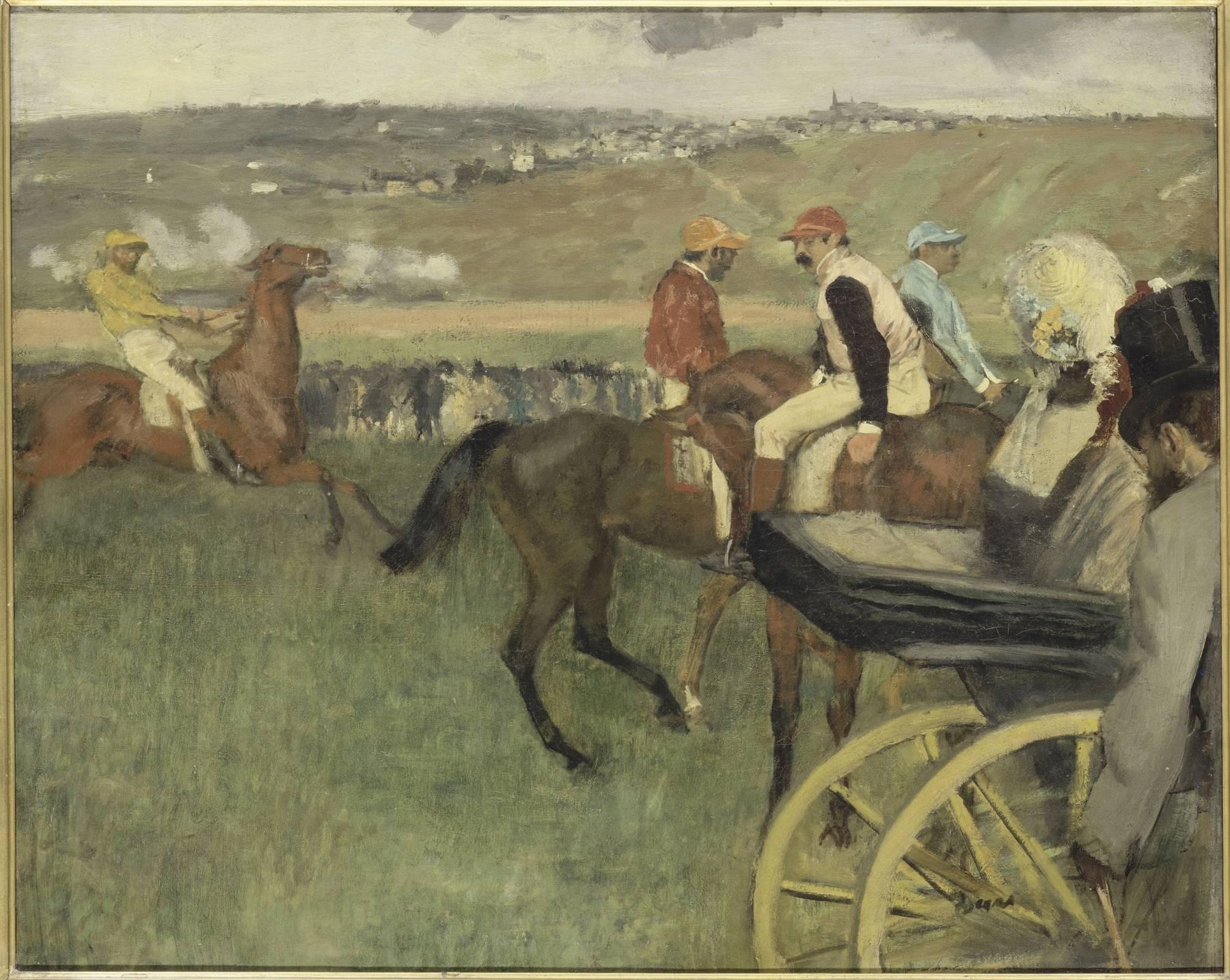 Edgar Degas, Le Champ de courses, jockeys amateurs