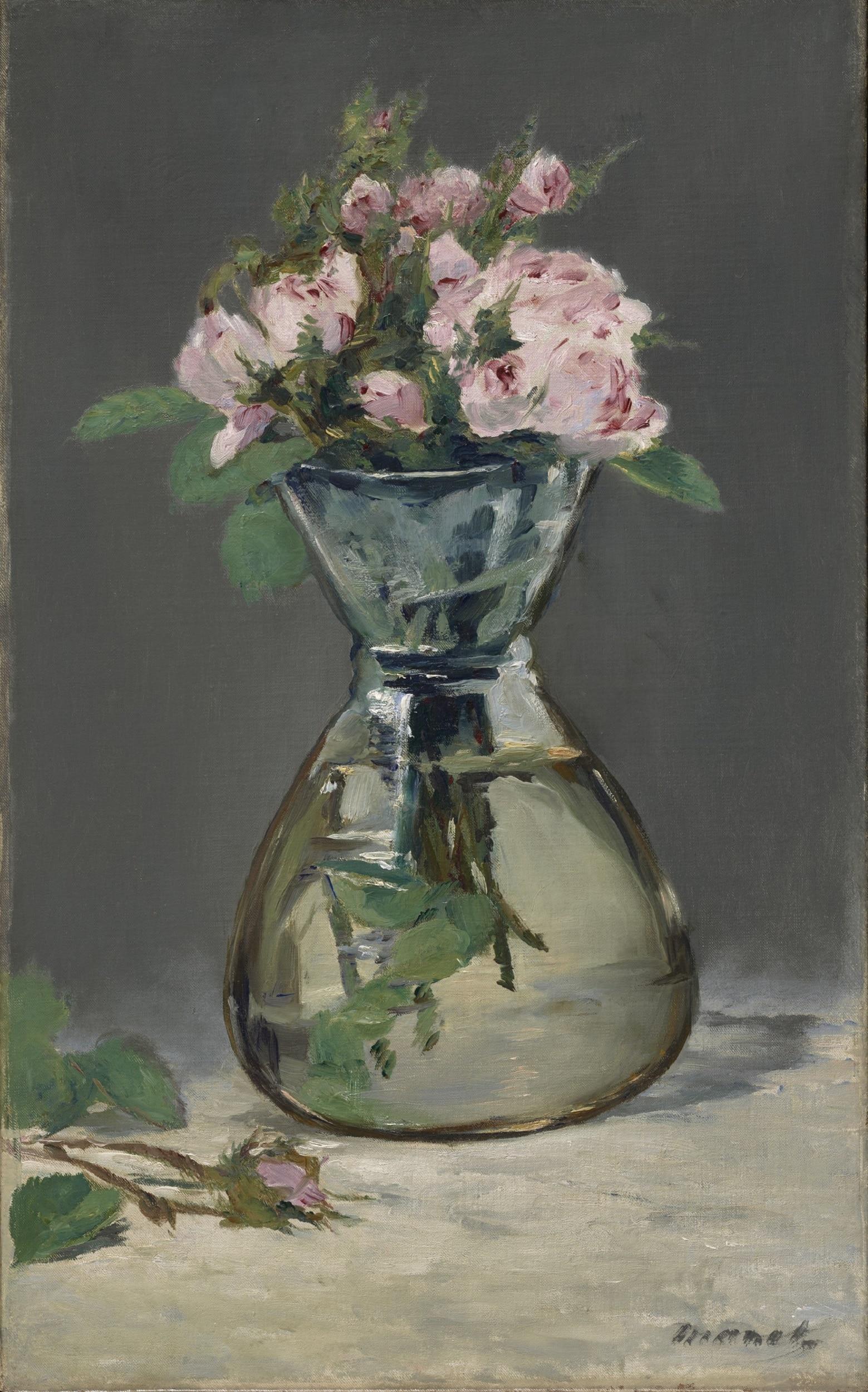 Édouard Manet, Roses mousseuses dans un vase