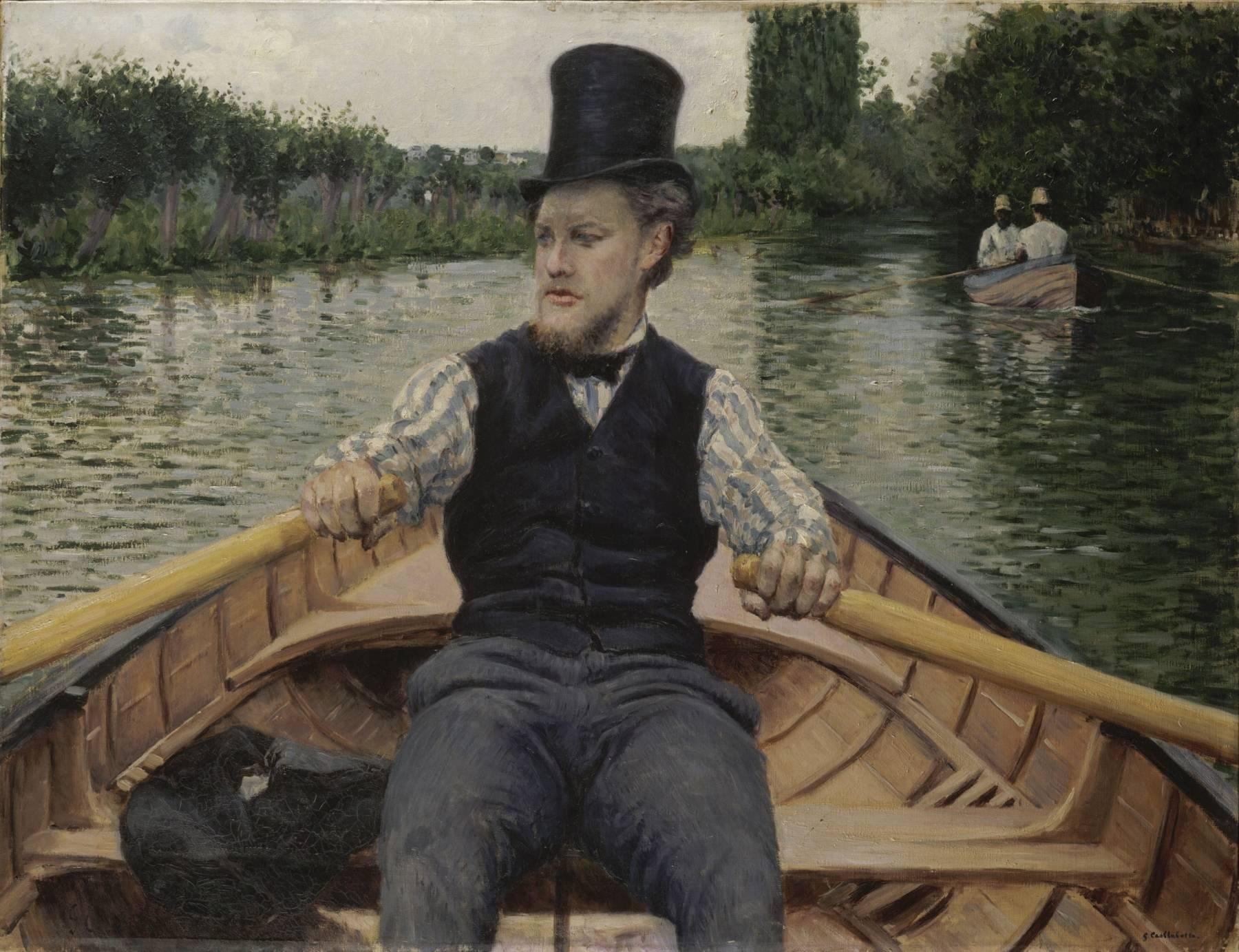 Gustave Caillebotte, Partie de bateau, dit Canotier au chapeau haut de forme