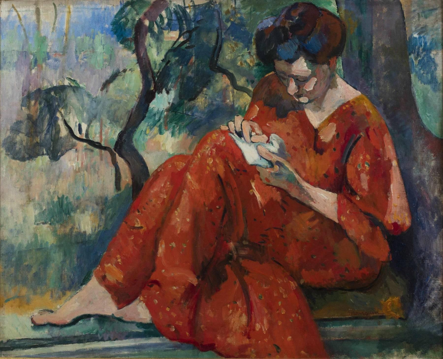 Henri Manguin, La Couseuse à la robe rouge, Jeanne