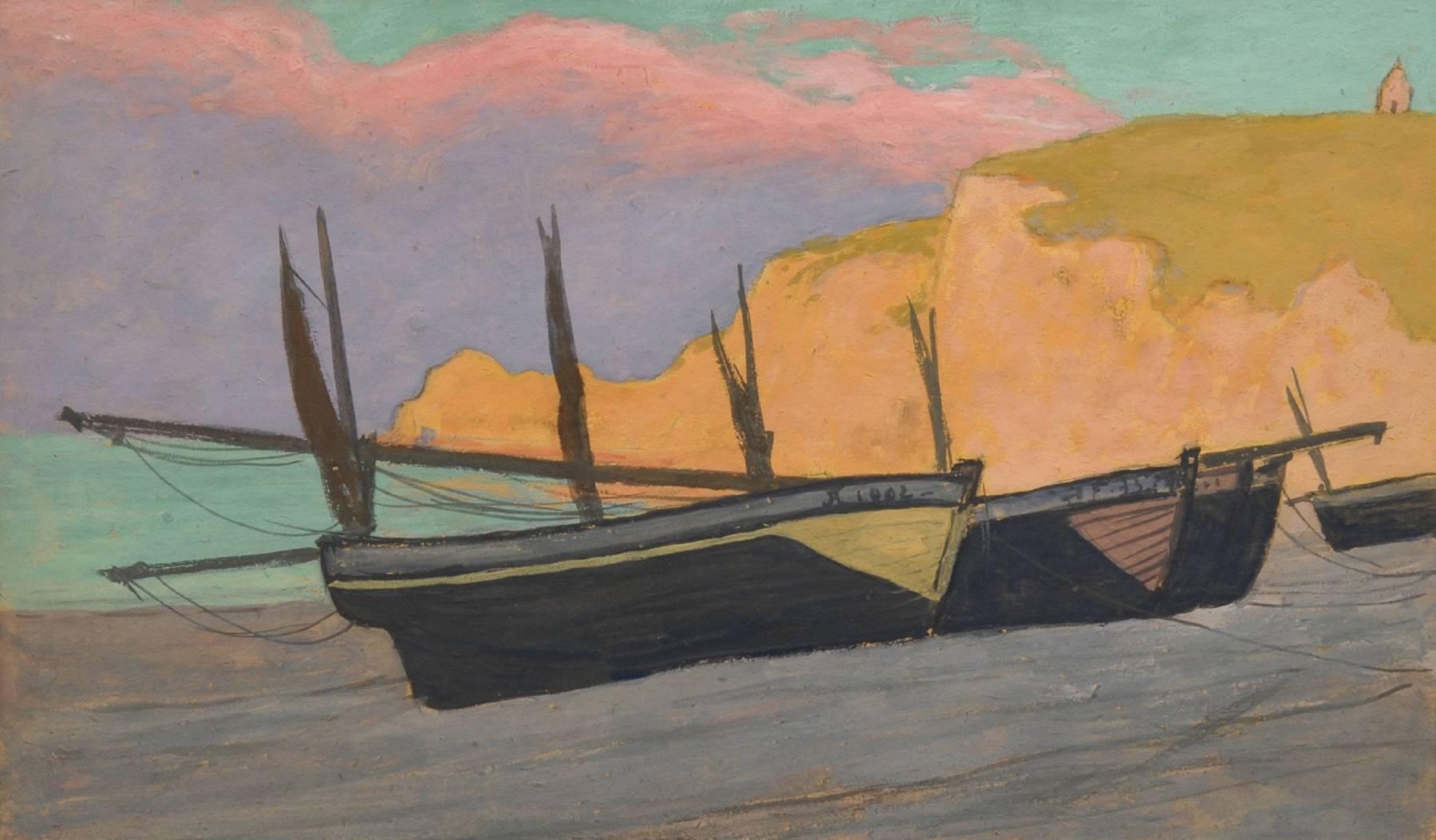 Jean Francis Auburtin, Barques à Étretat