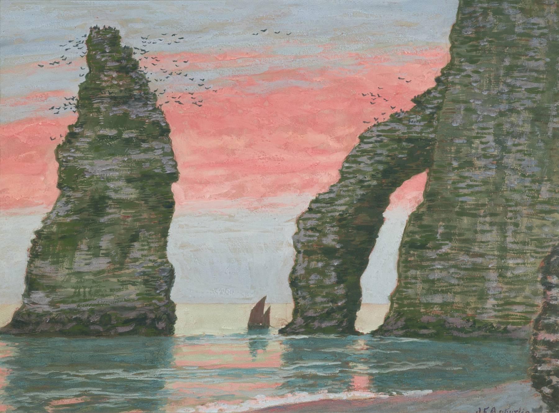 Jean Francis Auburtin, L'Aiguille d'Étretat, ciel rouge