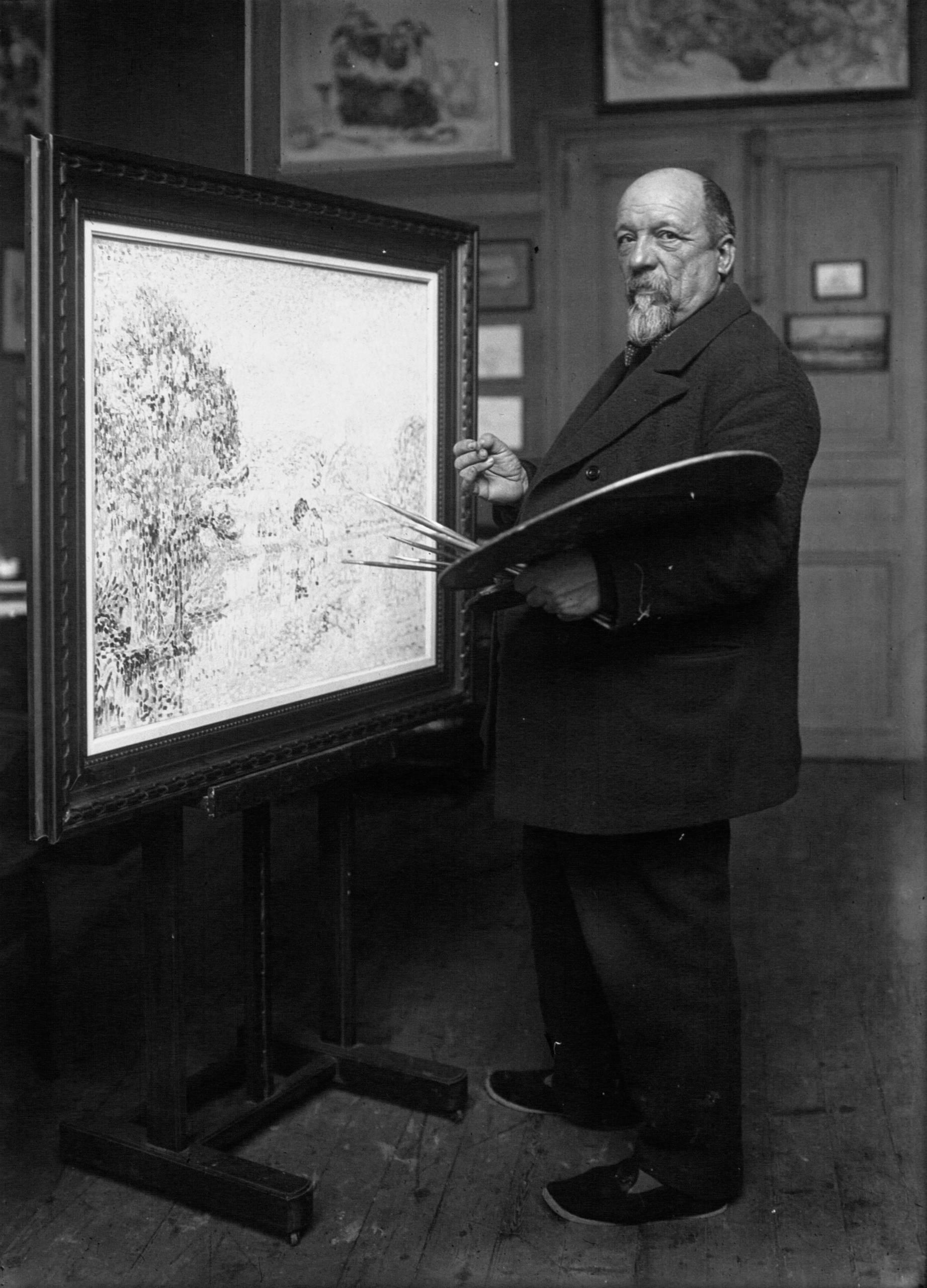 Agence de presse Meurisse. Agence photographique, Paul Signac, peintre près de son chevalet (1863-1935)