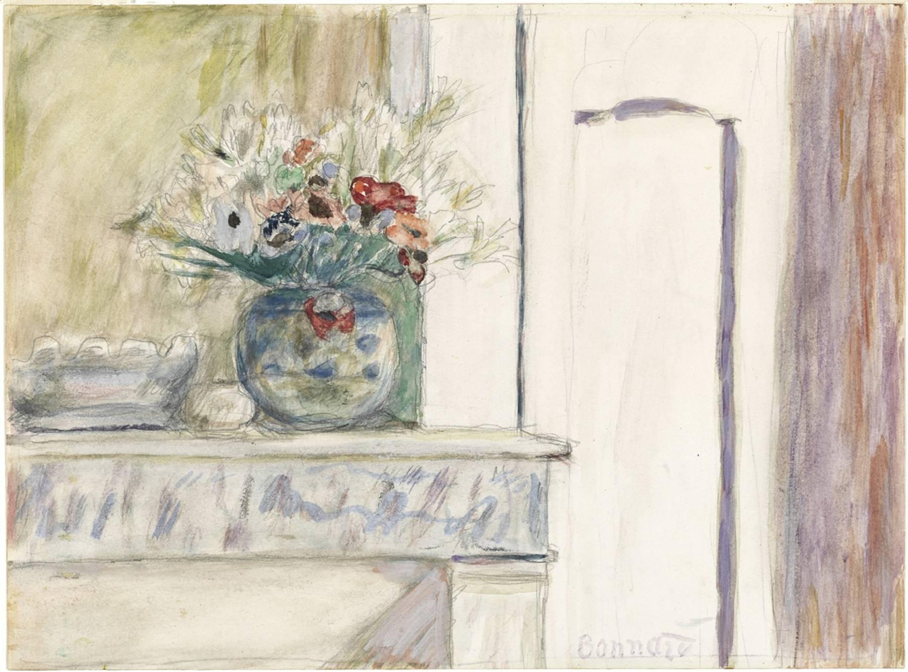Pierre Bonnard, Vase de fleurs sur un coin de cheminée