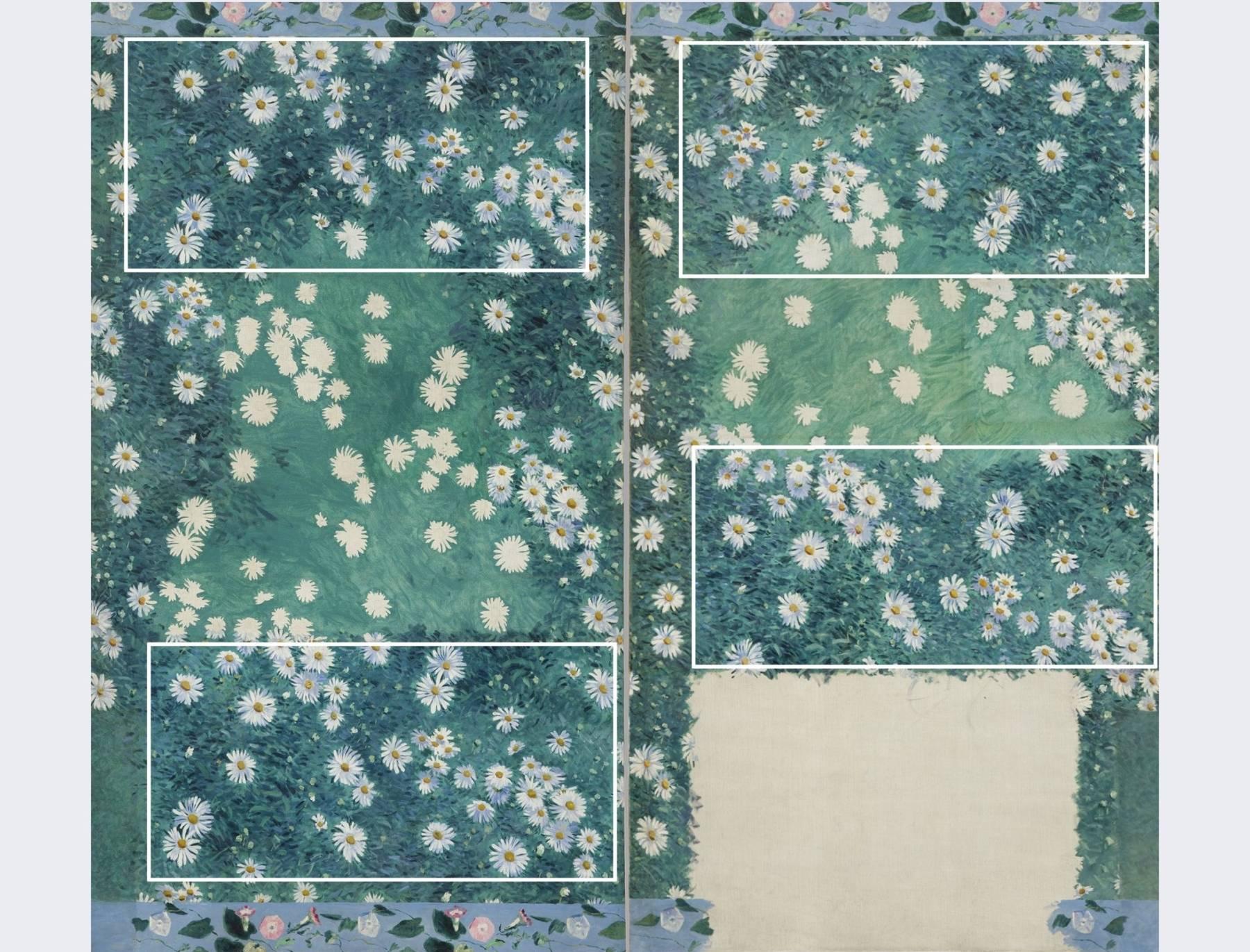 Parterre de marguerites de Gustave Caillebotte, schéma de restauration